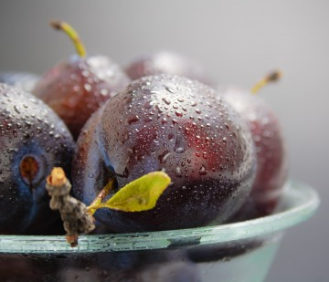 Fresh ripe washed plums in a glass bowl close-up on a neutral gradient background.